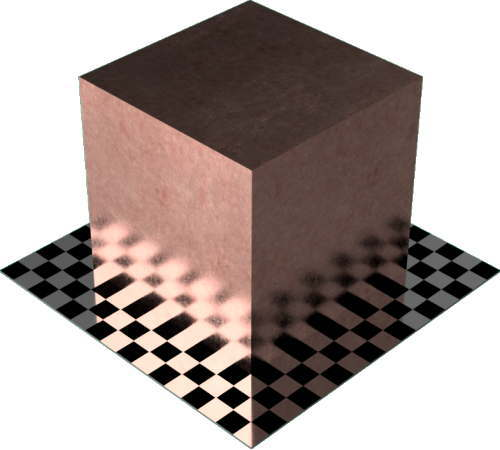3DCADモデリングの外観をメタルの銅-未処理直方体