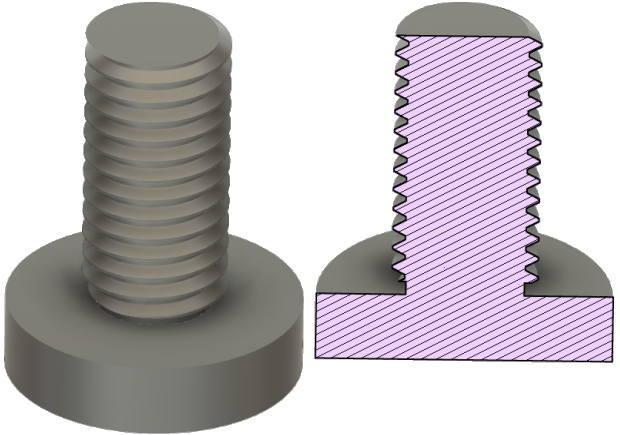 スクリュージャッキのモデルと断面図2