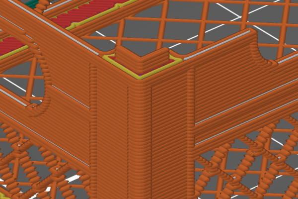 Prusa-Slicerでスライスを実行後のモデルを拡大