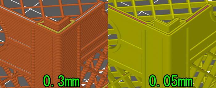 Prusa-Slicerの0.3mmと0.05mmの違い