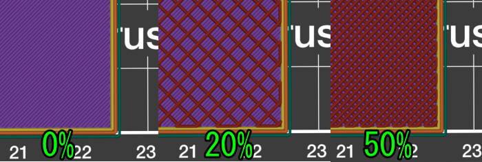 Prusa-Slicerインフィル0%の比較
