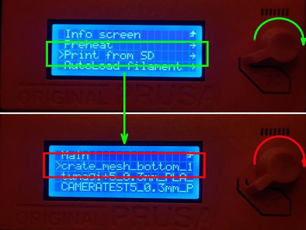 Prusa i3でプリントファイルの選択2