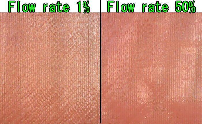 3dプリンターアイロニングFlow rate1%と50%の比較