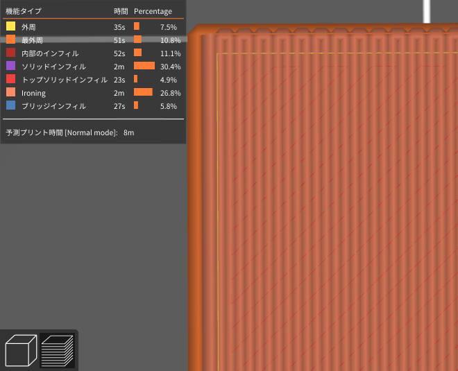 Spacing between ironing passes0.2%シミュレーション
