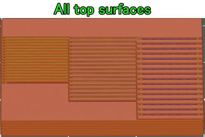prusaスライサーでall top surfaces設定シミュレーション